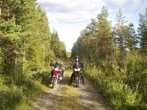 Motorcycle tour through forest roads in sweden