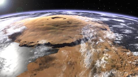 Olympus Mons   A visual of Mars' Olympus Mons, surrounded