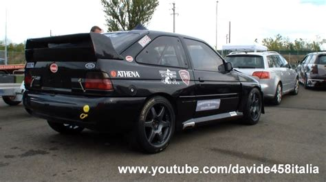 Modified Ford Escort RS Cosworth: start up and track