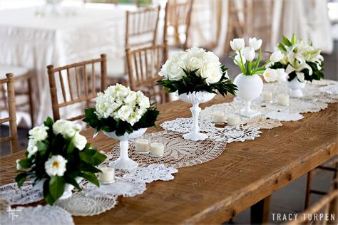 La Fleur Vintage: Lace Doily Table Runners from Ruffled Blog