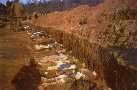 The bodies of prisoners killed in the Nordhausen