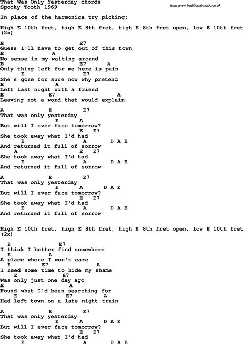 Song lyrics with guitar chords for That Was Only Yesterday